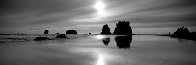 Silhouette of Sea Stacks at Sunset, Second Beach, Olympic National Park, Washington State, USA--Photographic Print