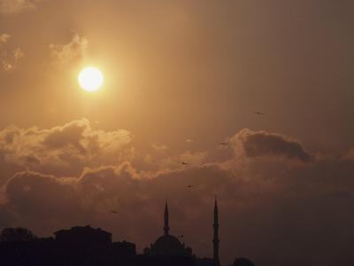 Silhouette of Steeples on Churches at Sunset in Istanbul, Turkey--Photographic Print