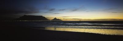 Silhouette of Table Mountain at Sunset, Table Bay, Bloubergstrand, Cape Winelands, South Africa--Photographic Print