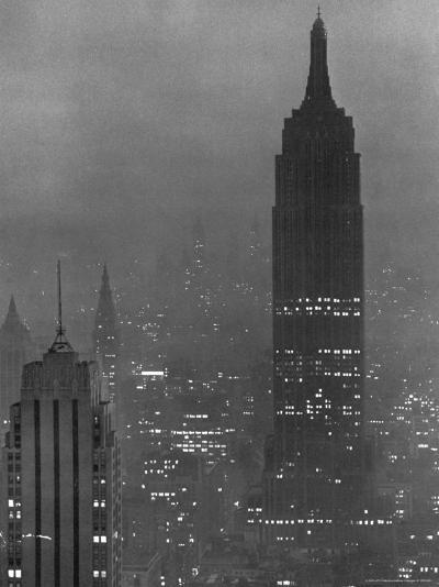 Silhouette of the Empire State Building and Other Buildings without Light During Wartime-Andreas Feininger-Photographic Print