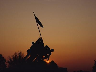 Silhouette of the Iwo Jima Monument at Twilight-Kenneth Garrett-Photographic Print
