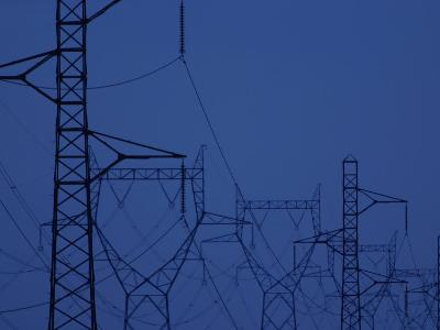 Silhouette of Towers with High Voltage Power Lines at Twilight--Photographic Print