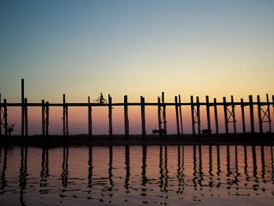 Silhouette of U Bien's Bridge on Lake Taungthaman, Burma-Brian McGilloway-Photographic Print