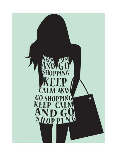 Silhouette of Woman in Dress from Words.-Ladoga-Art Print