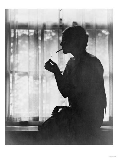 Silhouette of Woman Lighting Cigarette Photograph - New York, NY-Lantern Press-Art Print