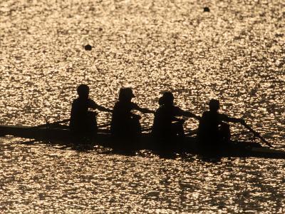 Silhouette of Women's Fours Rowing Team, Atlanta, Georgia, USA--Photographic Print