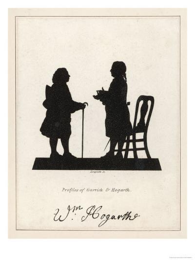 Silhouette Profiles of David Garrick Actor and William Hogarth Artist--Giclee Print