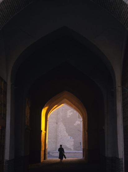 Silhouette Through Archway, Bukhara, Uzbekistan-Ellen Clark-Photographic Print