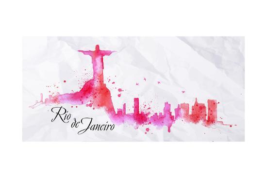 Silhouette Watercolor Rio De Janeiro-anna42f-Art Print