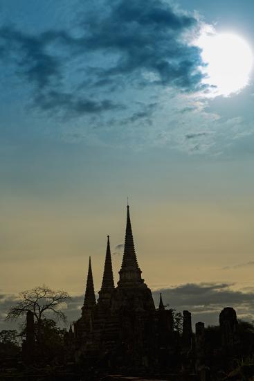 Silhouetted Chedis (Stupas), Ayutthaya, UNESCO World Heritage Site, Thailand, Southeast Asia, Asia-Alex Robinson-Photographic Print