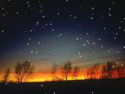 Silhouetted Landscape Below Star-Filled Sky-Chris Rogers-Photographic Print