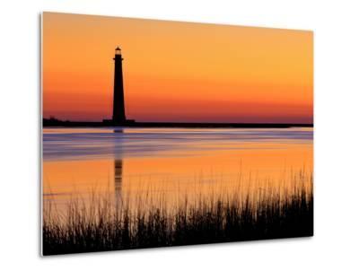 Silhouetted Morris Island Lighthouse at Sunrise-Robbie George-Metal Print