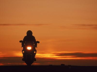 Silhouetted Motorcyclist at Sunset, Marin City, CA-Robert Houser-Photographic Print