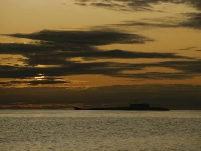 Silhouetted Russian Submarine in the White Sea-James P^ Blair-Photographic Print