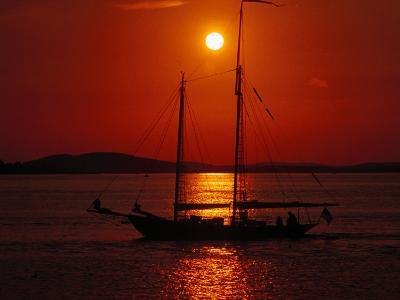 Silhouetted Sailboat, Rockport, Maine-Russell Burden-Photographic Print