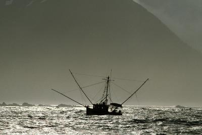 Silhouetted Salmon Troller Fishing Off Icy Point, Gulf of Alaska During Mid-Summer-Design Pics Inc-Photographic Print