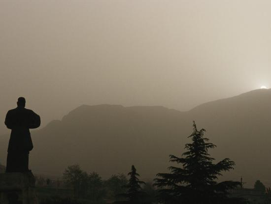 Silhouetted Statue of Damo at the Entrance to Shaolin-xPacifica-Photographic Print