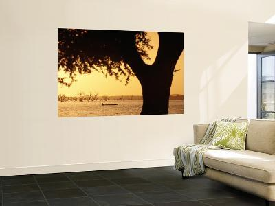 Silhouetted Tree with Fisherman in Canoe on Lake in Background-Frans Lemmens-Wall Mural