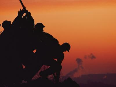 Silhouetted View of the Iwo Jima Memorial at Twilight-Anthony Peritore-Photographic Print