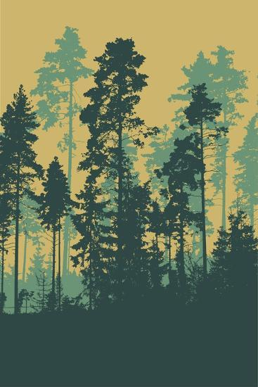 Silhouettes of Forest-jumpingsack-Art Print