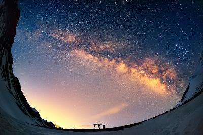 Silhouettes of the People Standing Together Holding Hands against the Milky Way in the Mountains.-Anton Jankovoy-Photographic Print