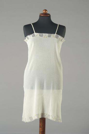 Silk Crepe Underdress with Small Embroidered Colored Flowers, 1920s-1930s--Giclee Print