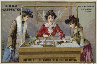 Silk Manufacturing. Spinning the Fibres onto a Reel--Giclee Print