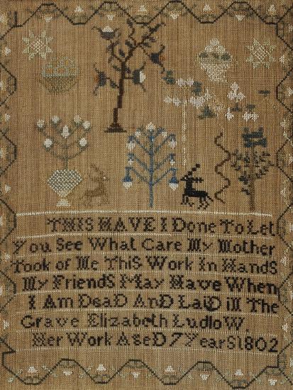 Silk-On-Linen Needlework Sampler, Dated 1802-Elizabeth Ludlow-Giclee Print
