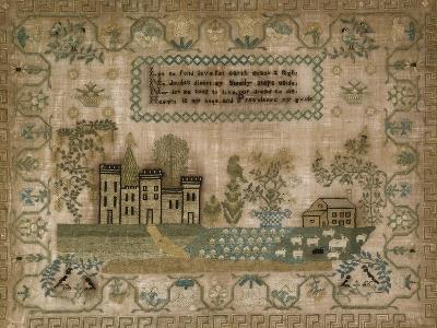 Silk-On-Linen Needlework Sampler. Probably Mid-Atlantic States, 1830-1840--Giclee Print