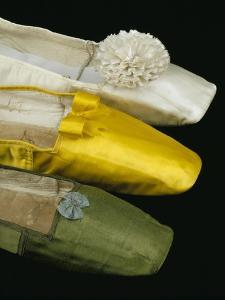 Silk Satin Shoes in Yellow, Green and White, c.1820-30