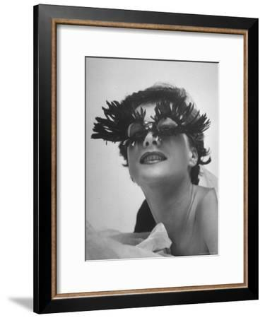 Silly Sunglasses Featuring Long Blue Eyelashes and Small Lenses by Designer Schiaparelli-Gordon Parks-Framed Premium Photographic Print