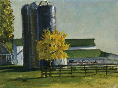 Silos by a Farm-Michael Budden-Giclee Print