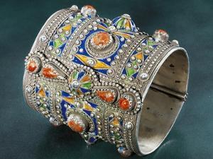 Silver Amesluh Bracelet, Cloisonne Enamel and Coral, 1900, Algeria, Early 19th Century