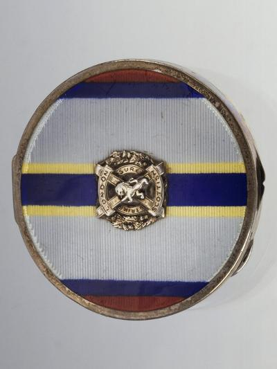 Silver and Enamel Compact Powder Case with Symbol of London Scottish Regiment--Giclee Print