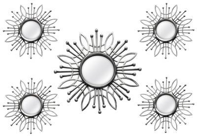 Silver Burst Mirrors - Set of 5
