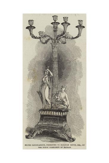 Silver Candelabrum, Presented to Malcolm Lewin, Esquire, by the Hindu Community of Madras--Giclee Print