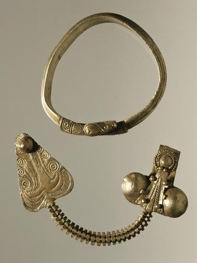Silver Celtic-Illyrian Necklace and Fibula from Curug, Serbia B.C.--Giclee Print