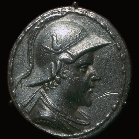 Silver coin of Eucratides I, a King of Bactria. Artist: Unknown-Unknown-Giclee Print