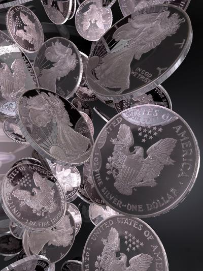 Silver Coins, Computer Artwork--Photographic Print