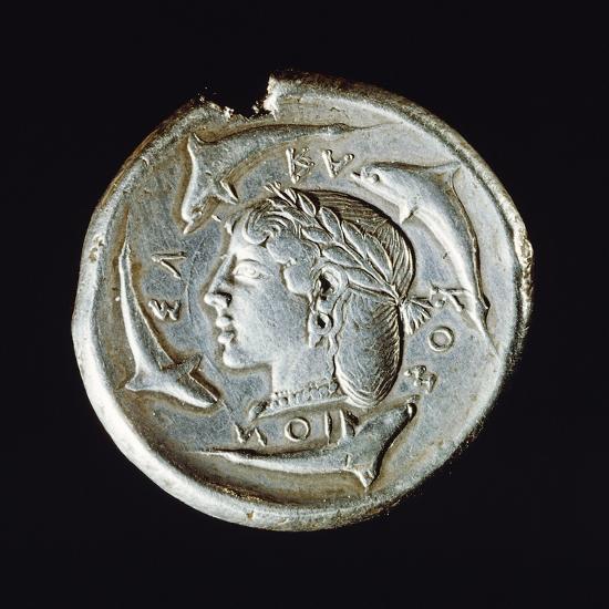 Silver Decadrachm, Recto, Greek Coins, 5th Century BC--Giclee Print