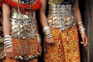 Silver Decorations of Dayak Iban Girls, Including Coins of Queen Victoria, Sarawak, Malaysia