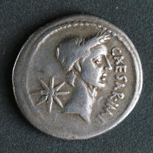 Silver Denarius of Julius Caesar at Time of First Triumvirate, Recto, Roman Coins BC