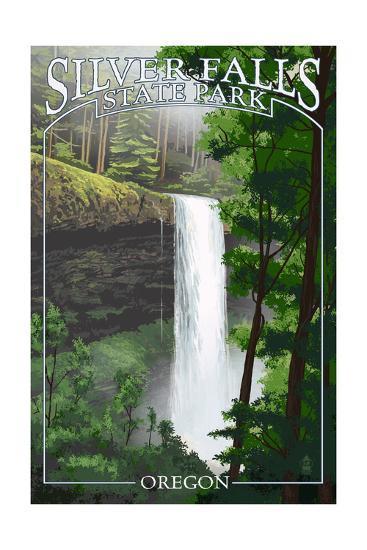 Silver Falls State Park, Oregon - South Falls-Lantern Press-Art Print