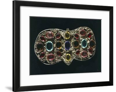 Silver Filigree Clasp Set with Precious Stones--Framed Giclee Print