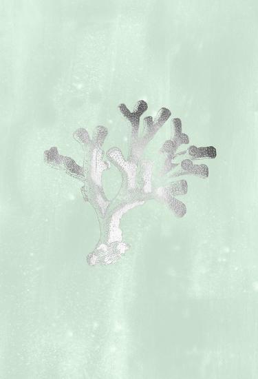Silver Foil Coral II on Seafoam Wash-Vision Studio-Art Print