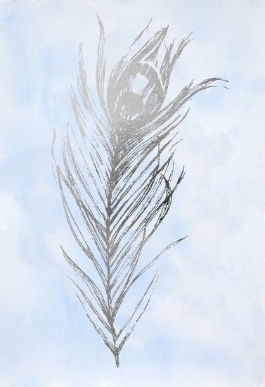 Silver Foil Feather I on Blue-Vision Studio-Art Print