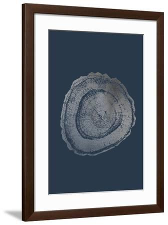 Silver Foil Tree Ring III on Cobalt-Vision Studio-Framed Art Print