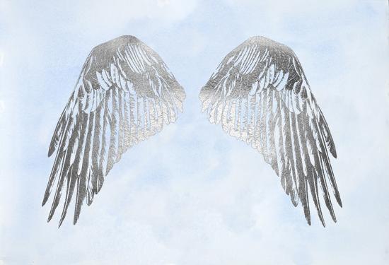 Silver Foil Wings I on Blue Wash-Grace Popp-Art Print