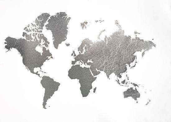 Silver Foil World Map Art Print By Jennifer Goldberger Art Com