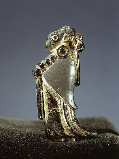 Silver-gilt Viking pendant usually identified as a Valkyrie, Oland, Sweden, 6th century-Werner Forman-Photographic Print